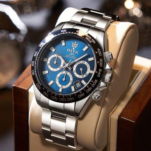 2020 nouvelle mode hommes montres avec acier inoxydable haut marque de luxe sport chronographe Quartz montre