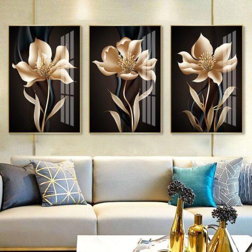 Abstrait noir dor fleur mur Art toile peinture nordique affiches et impressions photos murales pour salon