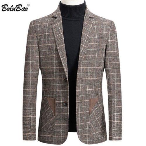 BOLUBAO marque hommes Blazer personnalit sauvage hommes costume veste de haute qualit mode Plaid imprimer coupe