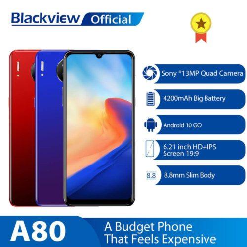 Blackview T l phone portable A80 Quad cam ra arri re Android 10 0 Go appareil