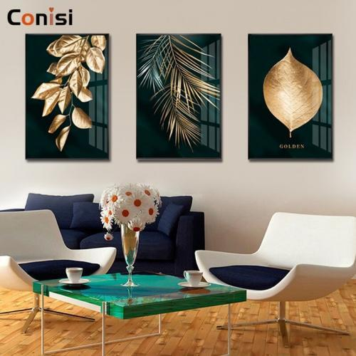 Conisi moderne abstrait feuilles d or mur Art toile peinture feuille d or affiches et impressions