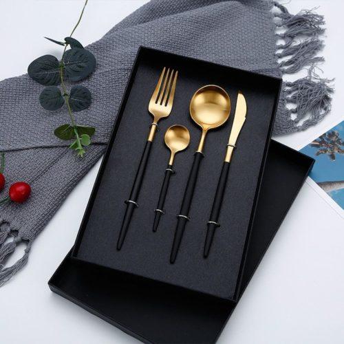Couverts noirs service de vaisselle en acier inoxydable couverts dor s fourchette couteau cuill re service