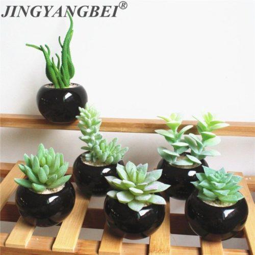 Ensemble de bonsa s en c ramique noire plantes succulentes artificielles ensemble de bonsa s fausse