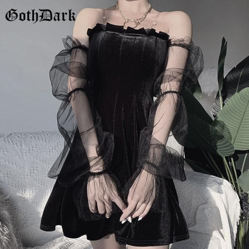 GOTH DARK Robe en maille sombre de style gothique vintage E girl v tement bretelles transparentes