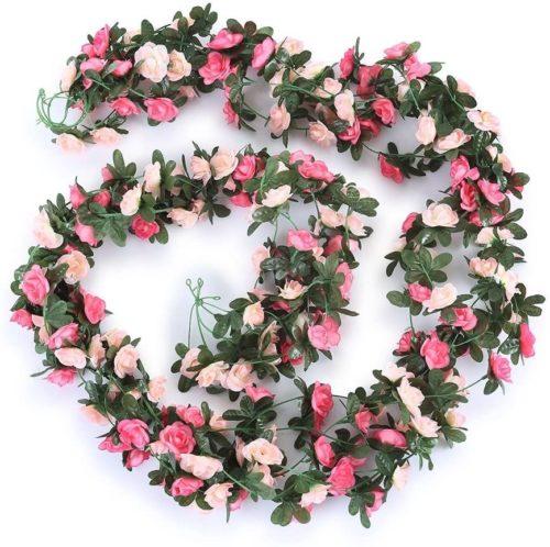 Guirlande de roses artificielles suspendues 2 5m 5 paquets fausses fleurs pour d corer un jardin