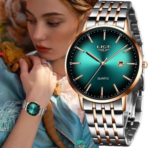 LIGE luxe dames montre femmes tanche or Rose Bracelet en acier femmes montres bracelets haut de