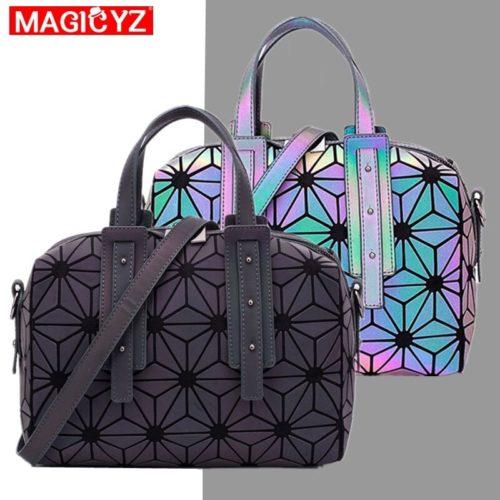 MAGICYZ g om trique diamant treillis brillant sac dames lumineux Boston sac bandouli re pour les