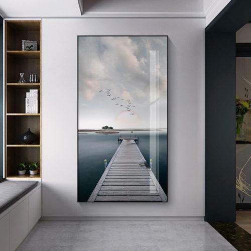 Mer paysage toile affiche nordique littoral pont mur Art imprimer paysage marin peinture d coration photos