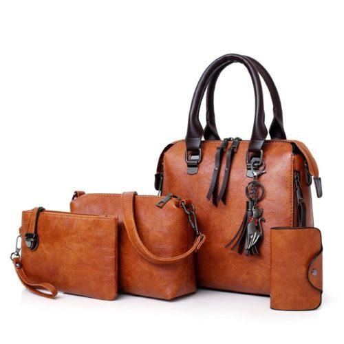 Nouveau 4 pi ces ensemble de haute qualit dames sacs main femme en cuir PU sacs