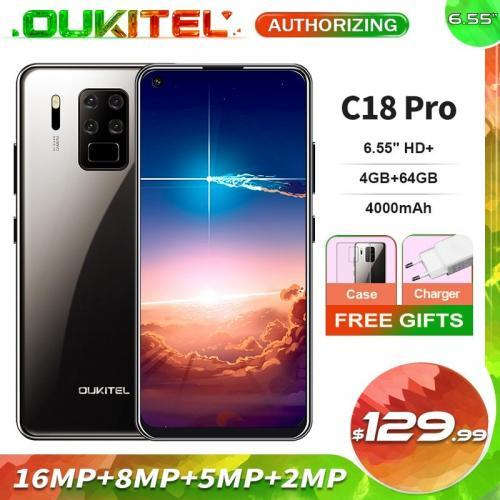 OUKITEL C18 Pro 6 55 HD 4GB 64GB quatre cam ras Smartphone MTK6757 Octa Core Android