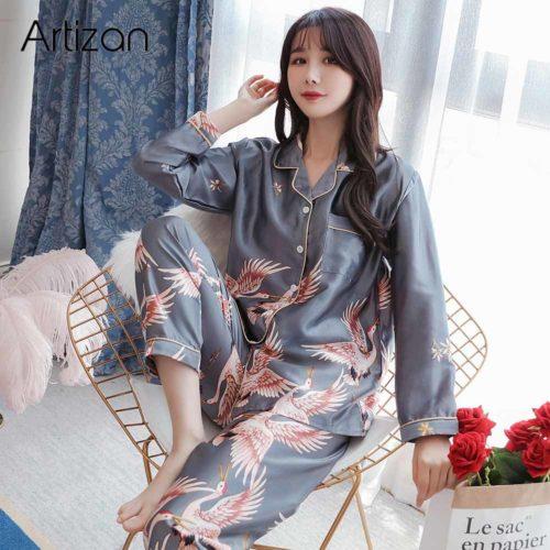 Pyjama en Satin de soie pour femmes ensemble de v tements de nuit en Satin manches