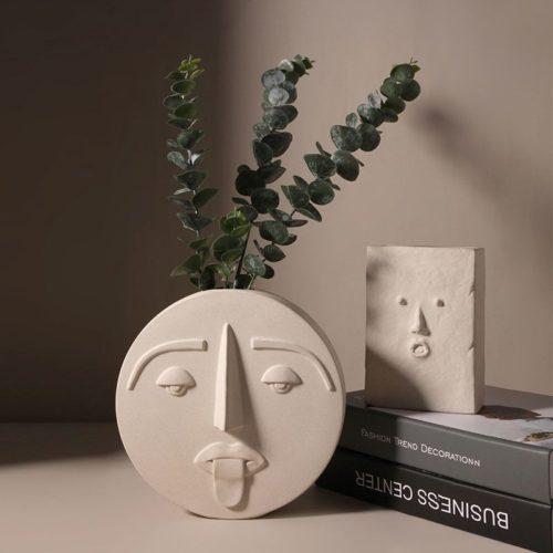Style nordique moderne masque facial Vase en c ramique d coration de la maison Vases fleurs