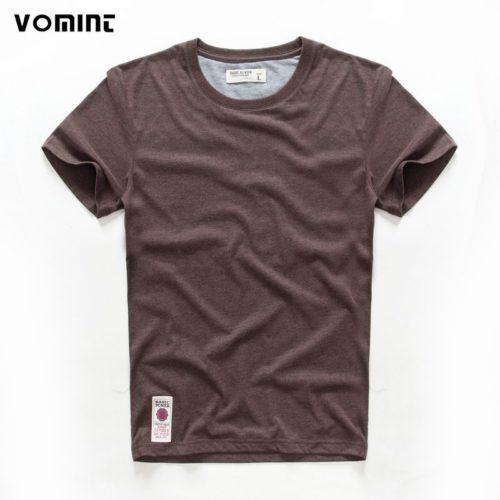 VOMINT T shirt en coton col rond pour homme haut manches courtes 4 couleurs unies mati