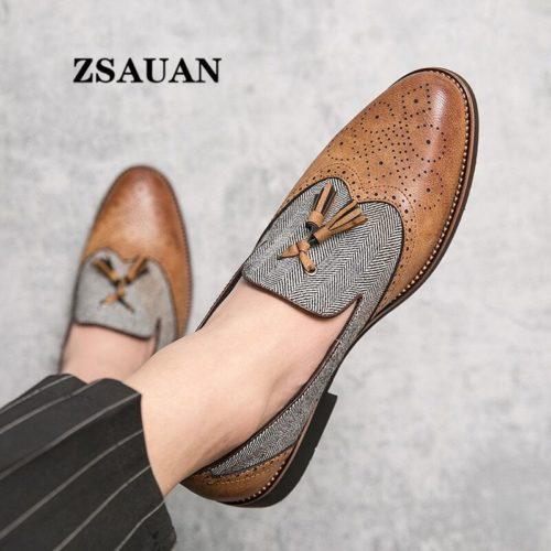 ZSAUAN chaussures en cuir semi formelles pour hommes avec glands plates et sculptures anglaises mocassins collection
