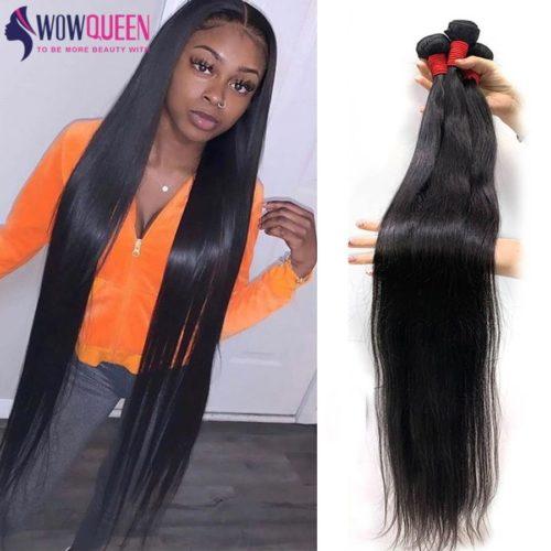 30 pouces paquets 32 34 36 40 cheveux raides paquets WOWQUEEN 100 cheveux humains paquets Remy
