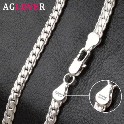 AGLOVER collier en argent Sterling 925 pour femmes et hommes cha ne de 20 pouces or