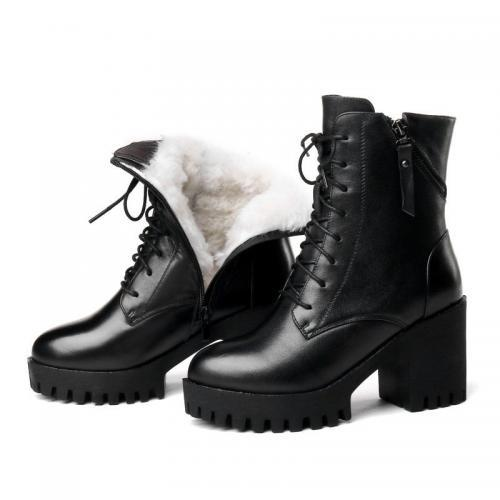 AIYUQI Bottes en vrai cuir et laine naturelle pour femme chaussures chaudes nues collection d hiver
