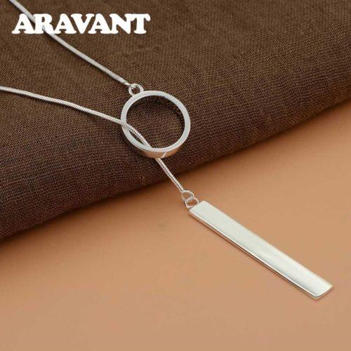 Argent 925 Long cercle barre pendentifs collier cha nes pour femmes saint valentin cadeau bijoux de