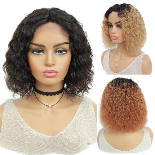Court Bob cr pus boucl s perruques br silien naturel cheveux humains perruques pour les femmes
