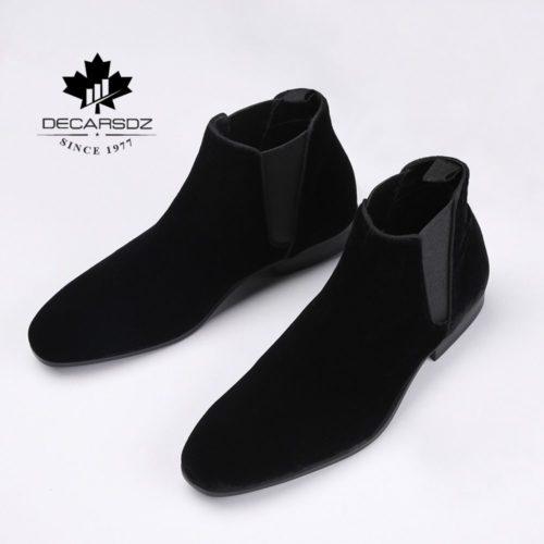DECARSDZ Chelsea bottes hommes chaussures confortable lastique daim hommes bottes 2020 automne mode chaussures homme classique