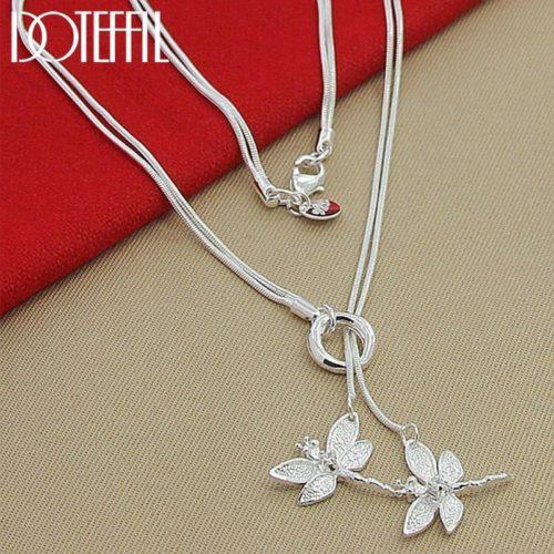 Doteffle collier pendentif en argent Sterling 925 pour femmes cha ne deux libellules fian ailles mariage