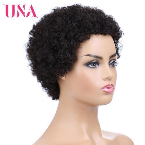 Perruque Afro p ruvienne non remy naturelle courte UNA cheveux boucl s densit 120 fait la
