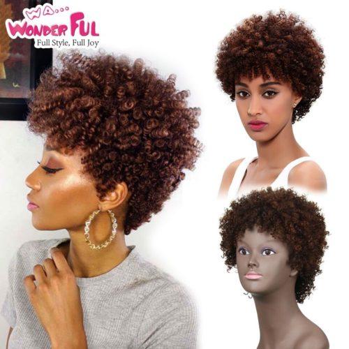 Perruques de cheveux humains merveilleux br silien Afro cr pus boucl s perruques de cheveux courts