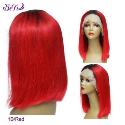 180 Density Full Human Hair Wig 1b Red Color Bob Lace Front Wig