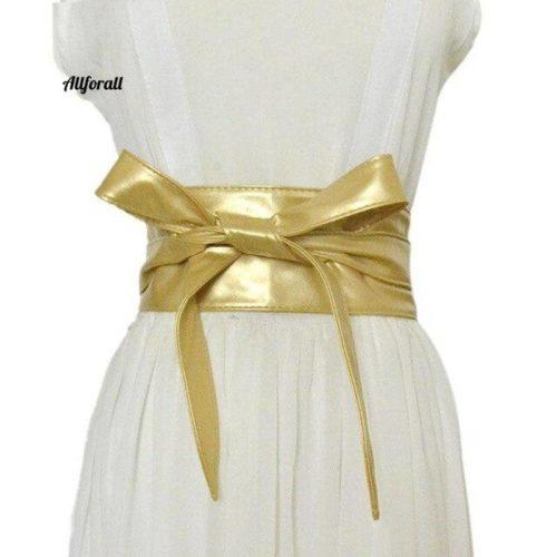 fashion pu leather obi corset belt for ladies wide high waistband bow knot women dress waist